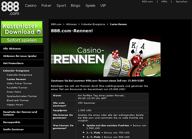 888 Casino Rennen