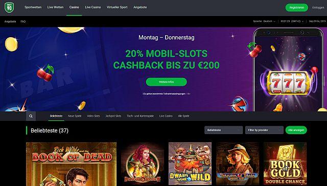Bet90 Casino Startseite