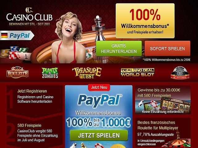 Casino Club Paypal Bonus