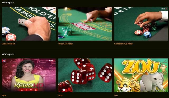 Auswahl der Spiele bei Codeta
