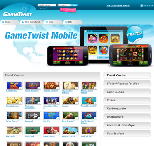 online internet casino twist game login