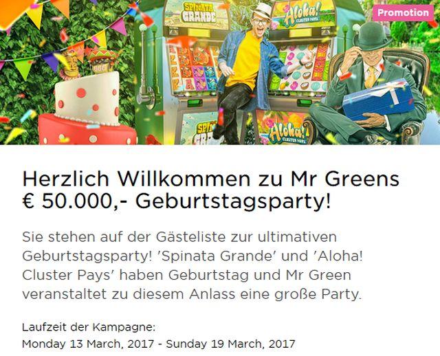 Mr. Green Bonusaktion 2017
