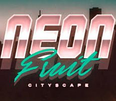 Neon Fruit Cityscape Logo