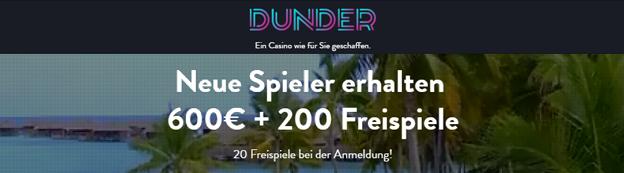 Skrill Dunder Casino Bonus